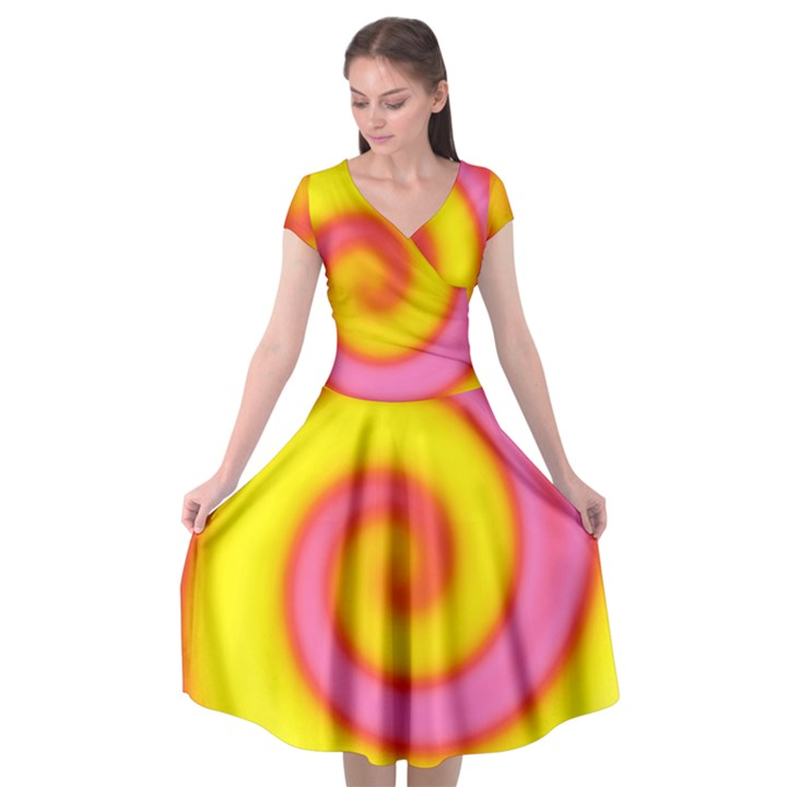 Swirl Yellow Pink Abstract Cap Sleeve Wrap Front Dress