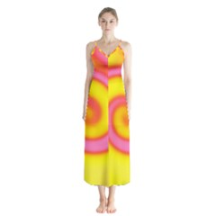 Swirl Yellow Pink Abstract Button Up Chiffon Maxi Dress