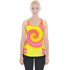 Swirl Yellow Pink Abstract Piece Up Tank Top
