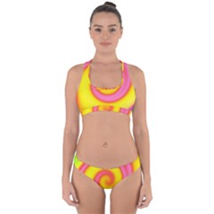Swirl Yellow Pink Abstract Cross Back Hipster Bikini Set