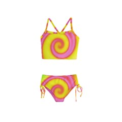 Swirl Yellow Pink Abstract Girls  Tankini Swimsuit
