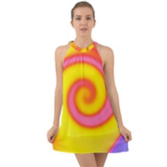 Swirl Yellow Pink Abstract Halter Tie Back Chiffon Dress