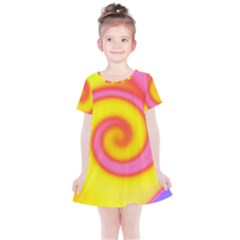 Swirl Yellow Pink Abstract Kids  Simple Cotton Dress