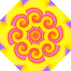 Swirl Yellow Pink Abstract Folding Umbrellas by BrightVibesDesign