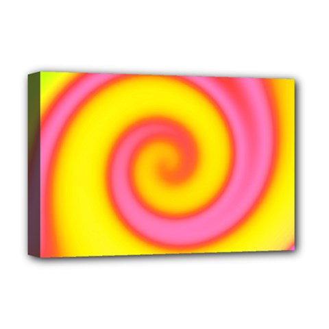 Swirl Yellow Pink Abstract Deluxe Canvas 18  X 12   by BrightVibesDesign