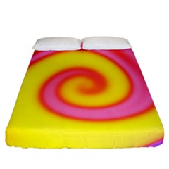 Swirl Yellow Pink Abstract Fitted Sheet (california King Size) by BrightVibesDesign