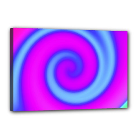 Swirl Pink Turquoise Abstract Canvas 18  X 12  by BrightVibesDesign