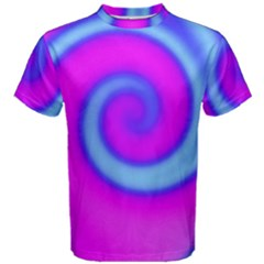 Swirl Pink Turquoise Abstract Men s Cotton Tee by BrightVibesDesign