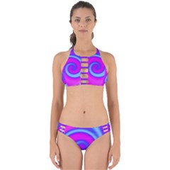 Swirl Pink Turquoise Abstract Perfectly Cut Out Bikini Set