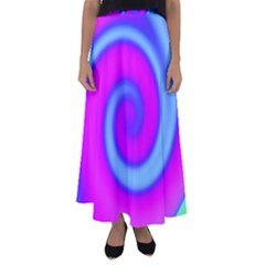 Swirl Pink Turquoise Abstract Flared Maxi Skirt by BrightVibesDesign