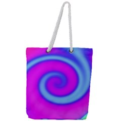 Swirl Pink Turquoise Abstract Full Print Rope Handle Tote (large) by BrightVibesDesign