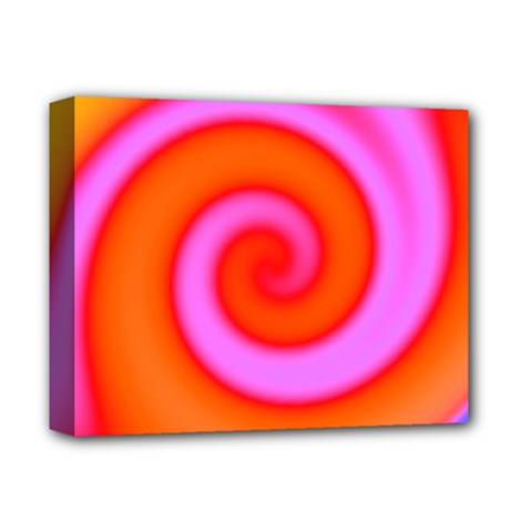 Swirl Orange Pink Abstract Deluxe Canvas 14  X 11  by BrightVibesDesign