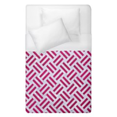 Woven2 White Marble & Pink Leather (r) Duvet Cover (single Size) by trendistuff