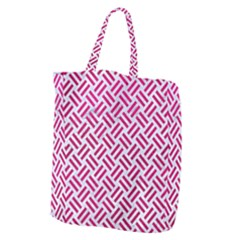 Woven2 White Marble & Pink Leather (r) Giant Grocery Zipper Tote by trendistuff