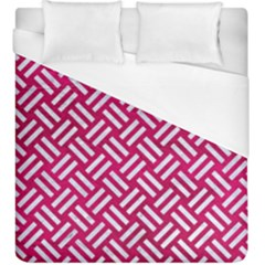 Woven2 White Marble & Pink Leather Duvet Cover (king Size)