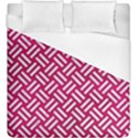 WOVEN2 WHITE MARBLE & PINK LEATHER Duvet Cover (King Size) View1