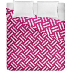 Woven2 White Marble & Pink Leather Duvet Cover Double Side (california King Size) by trendistuff