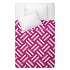 Woven2 White Marble & Pink Leather Duvet Cover Double Side (single Size) by trendistuff