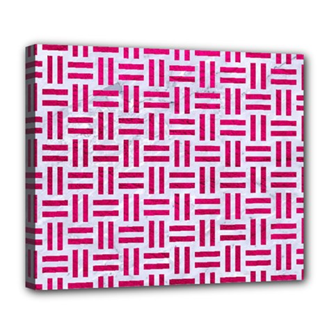 Woven1 White Marble & Pink Leather (r) Deluxe Canvas 24  X 20   by trendistuff