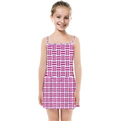 Woven1 White Marble & Pink Leather (r) Kids Summer Sun Dress