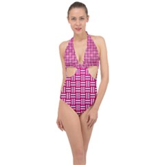 Woven1 White Marble & Pink Leather Halter Front Plunge Swimsuit
