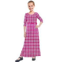 Woven1 White Marble & Pink Leather Kids  Quarter Sleeve Maxi Dress