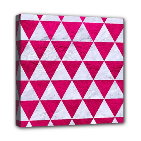 Triangle3 White Marble & Pink Leather Mini Canvas 8  X 8  by trendistuff