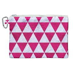 Triangle3 White Marble & Pink Leather Canvas Cosmetic Bag (xl)