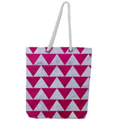 Triangle2 White Marble & Pink Leather Full Print Rope Handle Tote (large)
