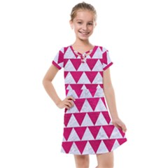 Triangle2 White Marble & Pink Leather Kids  Cross Web Dress