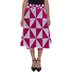 Triangle1 White Marble & Pink Leather Perfect Length Midi Skirt by trendistuff