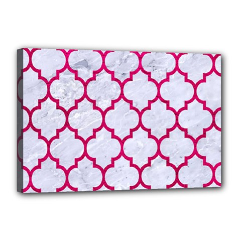 Tile1 White Marble & Pink Leather (r) Canvas 18  X 12  by trendistuff