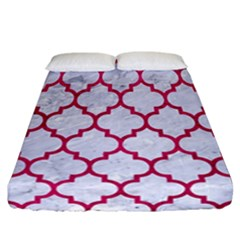 Tile1 White Marble & Pink Leather (r) Fitted Sheet (california King Size) by trendistuff
