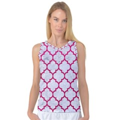 Tile1 White Marble & Pink Leather (r) Women s Basketball Tank Top