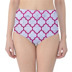 Tile1 White Marble & Pink Leather (r) Classic High Waist Bikini Bottoms by trendistuff