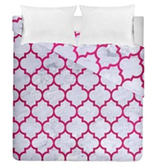 Tile1 White Marble & Pink Leather (r) Duvet Cover Double Side (queen Size) by trendistuff