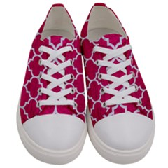Tile1 White Marble & Pink Leather Women s Low Top Canvas Sneakers