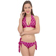 Tile1 White Marble & Pink Leather Tie It Up Bikini Set by trendistuff