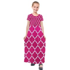 Tile1 White Marble & Pink Leather Kids  Short Sleeve Maxi Dress