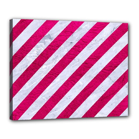 Stripes3 White Marble & Pink Leather (r) Canvas 20  X 16  by trendistuff