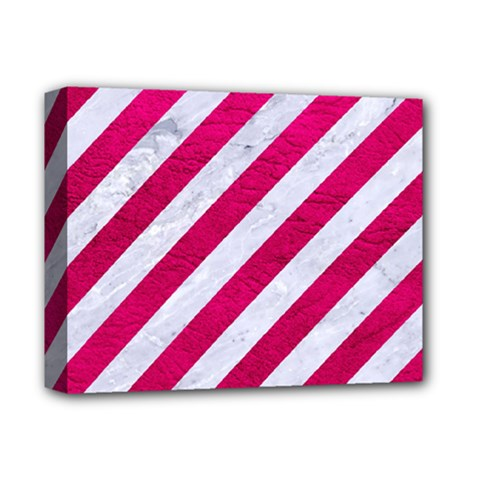 Stripes3 White Marble & Pink Leather (r) Deluxe Canvas 14  X 11  by trendistuff