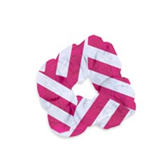 Stripes3 White Marble & Pink Leather (r) Velvet Scrunchie by trendistuff