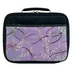 Floral Retro Pattern Blue Lunch Bag