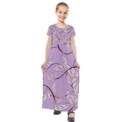 Floral Retro Pattern Blue Kids  Short Sleeve Maxi Dress by goodart