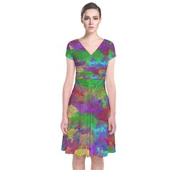 Colorful Patern Art Rainbow Short Sleeve Front Wrap Dress