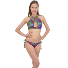 Colorful Patern Art Rainbow Cross Front Halter Bikini Set