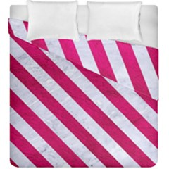 Stripes3 White Marble & Pink Leather Duvet Cover Double Side (king Size) by trendistuff