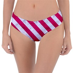 Stripes3 White Marble & Pink Leather Reversible Classic Bikini Bottoms