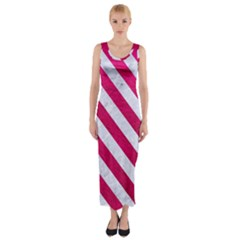 Stripes3 White Marble & Pink Leather Fitted Maxi Dress