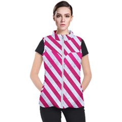 Stripes3 White Marble & Pink Leather Women s Puffer Vest